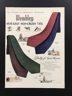 Wembley Ties | 1945 Vintage Ad | 1940s Color Men's Fashion Style Formal