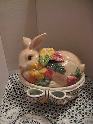 Fitz & Floyd Herb Garden Giftware Bunny Rabbit Oval Box With Lid Embossed