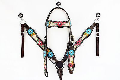 Flower Power Horse Bridle Breastplate Set. Cob