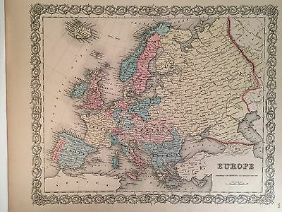 EUROPE Antique Atlas Map 1855 Colton World Maps +
