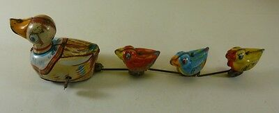 Made in Japan, 'Mother Duck with 3 ducklings', wind-up Tin Toy, c.1960's
