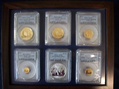 2011 China Complete 5-Gold Panda 1 Silver 6-Coins-Set Pcgs Ms 70 Rare