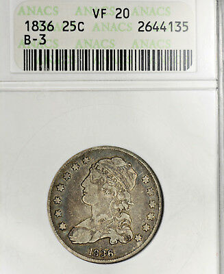 « 1836 VF20 Capped Bust Quarter 25c ~~ ANACS Graded, Old Holder, Nice Coin !! »