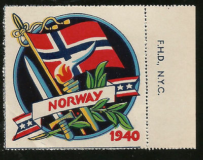 Wwii Flag Of Nazi Occupied Norway Honoring Overrun Nations Of Europe Gum Label