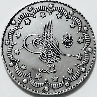 1293/24 AH Turkish 5 Kurush,Ottoman Islamic Empire,Turkey Silver Coin,Rare Grade