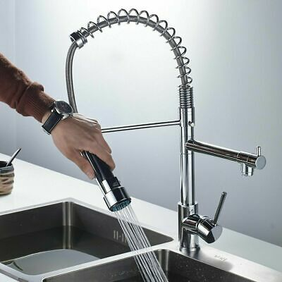 Chrome Sprayer Kitchen Faucet Swivel Pull Down Spout Commercial Spring Sink Tap