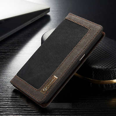 For Samsung Galaxy S7 S8 S9 S10 Plus Canvas Leather Wallet Case Magnetic Cover