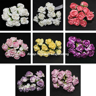Sullivans Small Paper Rose Flowers 10pce ~ 8 Colour Options Scrapbooking Craft
