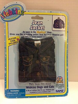 Webkinz Jean Jacket Fits Most Webkinz Dogs and Cats Ganz  In Sealed Package