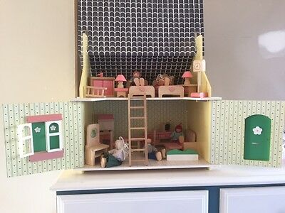 Wooden dolls house (double story / attic doll house) - includes furniture