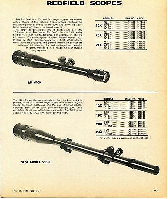 1976 Print Ad of Redfield RM 6400 & 3200 Target Rifle Scope