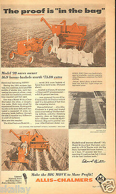 1959 LARGE Print Ad of Allis Chalmers AC 90 All Crop Harvester & D14 Tractor