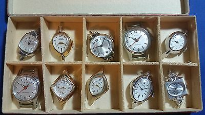 LOT OF 10 New Elgin Watches Without Movement(Case, Face, Hands, Glass)Swiss Made