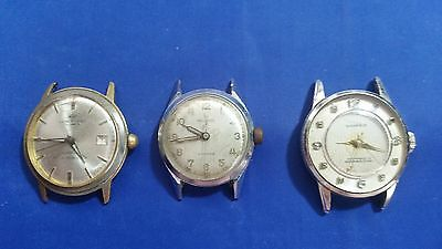 LOT OF 3 VINTAGE USED MECHANICAL WRISTWATCHES for parts