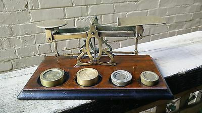 VINTAGE POST OFFICE letter brass balance SCALES & 4 weights UK antique postal