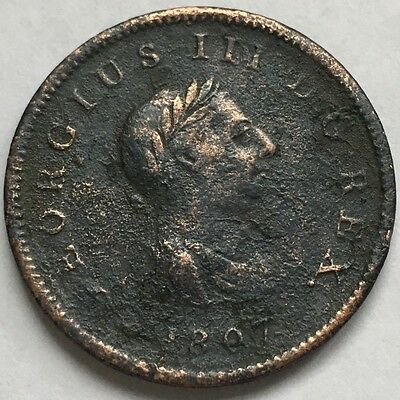 1807 Great Britain, George III Half Penny, Old British Copper Coin, U.K.#1