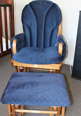 Swallow blue rocking nursing chair with foot rest USED