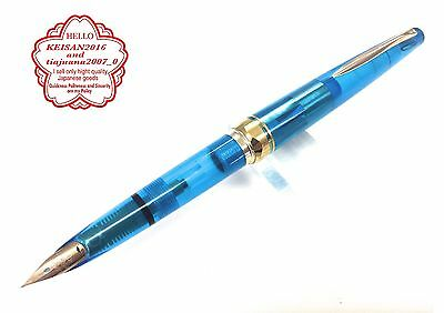 PILOT14K 585 <F> Transparent body Blue  very rare  dead stock from JAPAN