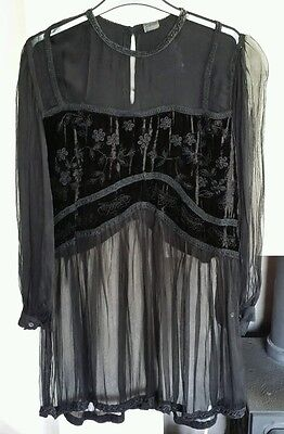 Black chiffon top Gothic/Steampunk/Costume. Size 14 approx. (DM018)