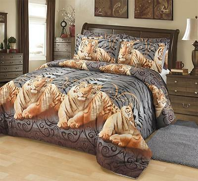 3D Animal Tigers  3 Pc Quilted Comforter Set Winter Warm Bedding - King Size