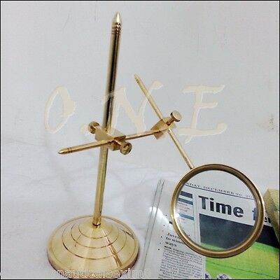 Vintage Style Brass Desk Top Magnifying Glass Adjustable Victorian Magnifier