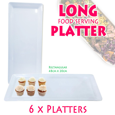 6 x Large Melamine Serving Platter 48 x 21cm White Serving Tray Catering Tray FD
