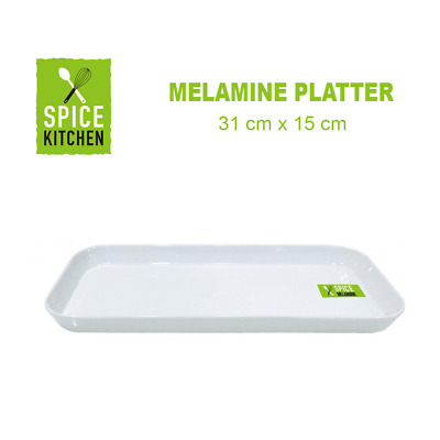 12PK SMALL WHITE MELAMINE SANDWICH TRAY RECTANGLE PLATTER CATERING  31cmx15cm FW