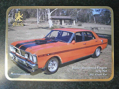 COLLECTABLE 125G MAC'S BUTTER SHORTBREAD EMBOSSED CLASSIC CAR TIN - 1971 Red Car