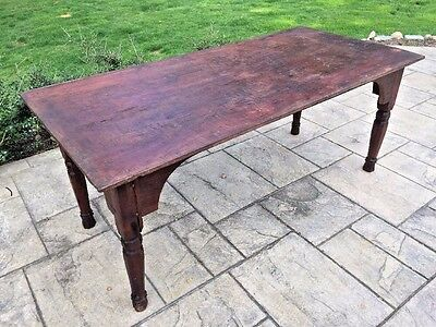 Antique Primitive Wood Farm Dining Work Table Wooden Pegs
