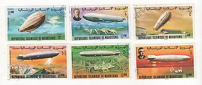 1976 MAURITANIA 75th Anniv of Zeppelin Airship FULL SET x 6 SG#517-522 CTO