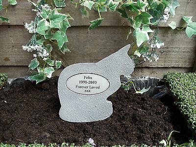 Pet Cat Shaped Memorial Stone with Oval Plaque