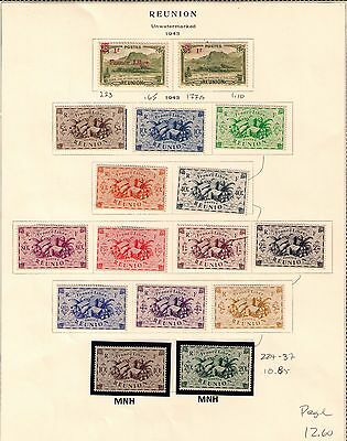 French Reunion 1943 Stamps Complete page MNH/MH Cat.$12.60