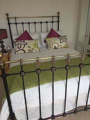 Beautiful antique iron & brass double bedstead