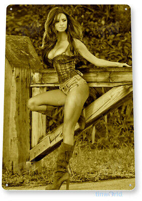TIN SIGN B611 Gate Guard Country Pin-up Girl Farm Ranch Pin-up Decor