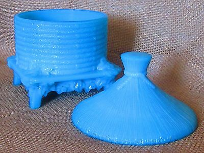 Very Ornate Covered Bee Hive Hut Blue Slag  Glass Covered Candy Dish