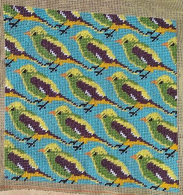 Modern Tapestry: Unique Handmade 'Finches' Sampler