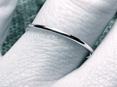 14k SOLID white Gold Skinny Wedding Ring 1mm Thin Round Simple Stacking Band