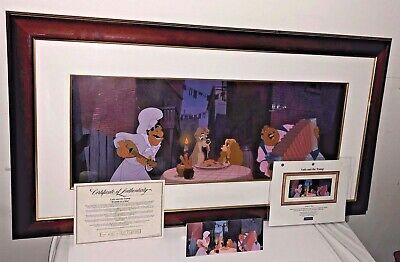 disney animation cel lady and the tramp prelude to a kiss rare cell + promo art