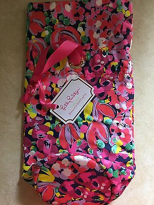 Lilly Pulitzer Neoprene Wild Confetti Pattern Wine Tote Bag Pink Ribbon