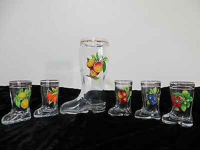 Vintage Set of 6 Boot Shoe Shaped Shot Glasses & Decanter Italy Fruit Mod Dep