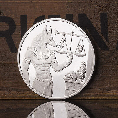 40mm Silver Plating Egyptian Guardian Anubis Commemorative Coin Crafts