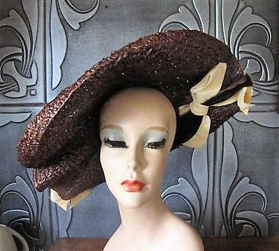 1950's Jj Haggarty Brown Wide Brim Pancake Straw Hat With Velvet Ribbon