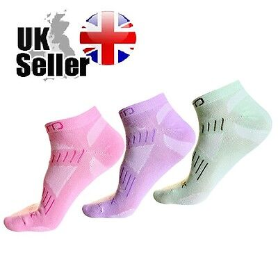 Pair Womens COOLMAX Running Trainer Cycling Gym Socks Pink Purple Green Size 4-8
