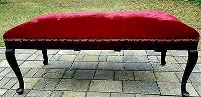 Bench window seat ottoman Queen Anne velvet upholstery Walnut vintage antique