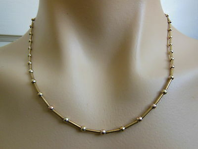 """14k Yellow Italian Solid Gold Bead & Bar 18"""" Chain Necklace  8.0g"""