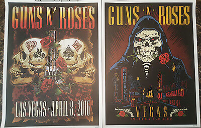 Guns N Roses Las Vegas April 8 & 9 2016 Poster Set #rd Of 1000 Slash Tmobile