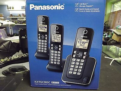 Panasonic Cordless Phones 3-Handset KX-TGC383C (black/noir)
