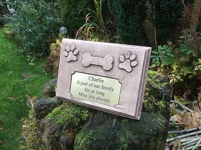 Personalised Dog Bone and Paws Memorial Marker Stone with Plaque Antique Finish