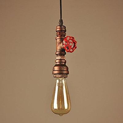 Vintage Industrial Copper Pipe Stop Tap Style Pendant Lamp Hanging Ceiling Light