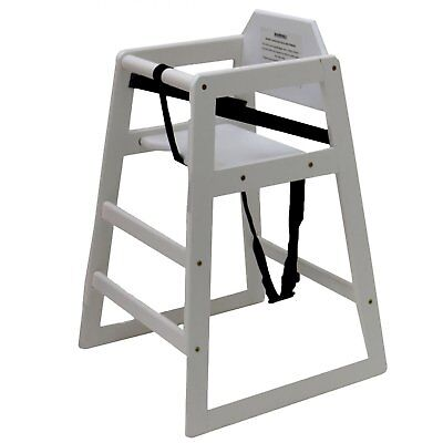 NEW! Stackable Kids Baby Wooden Feeding Commercial Home High Chair - White